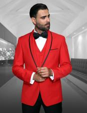ID#SU28044 Perfect Black Dinner Jacket Blazer ~ Sport Coat Prom Wedding Red One Button Tuxedo