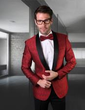 ID#SU28050 Perfect Black Dinner Jacket Blazer ~ Sport Coat Prom Wedding Red Tuxedo