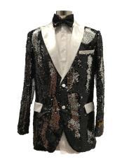 men's Two Button Black ~ White  Suit