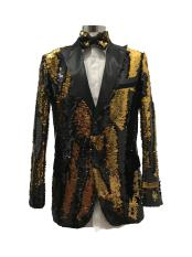 ID#SU28058 Mens Black ~ Gold  Two Button Suit
