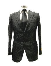 ID#SU28078 Mens  Peak Label Black Two Button Suit