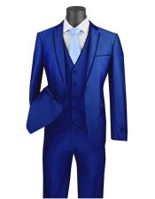 ID#SU28103 Royal Light Blue Perfect for wedding Tuxedo Vinci Men's 3 Piece Slim Fit Suit - Trimmed L