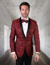 Perfect for Prom Red And Black Dinner Jacket Tuxedo 2020 Blazer ~ Sport Coat