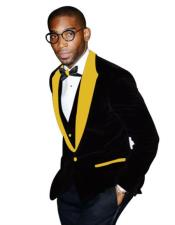 Mens Yellow Black Tuxedo