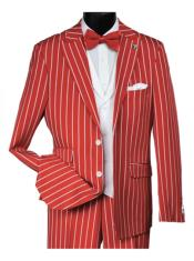 White ~ Red Pinstripe