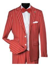 ID#SP28142 Mens White ~ Red Pinstripe Striped 2 Button Notch Lapel Vest Suit