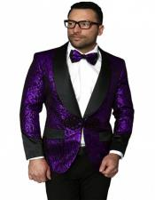 Mens Black And Purple Tuxedo Dinner Jacket