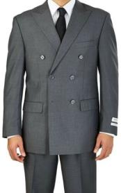 ID#KA28222 Mens Fit Suit Grey Double Breasted 6 Button Classic