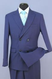 ID#KA28223 Mens French Blue Slim Fit 4 Button Double Breasted New Suit