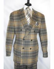 ID#KA28252 Apollo King Brown Suit 100% Wool Double Breasted