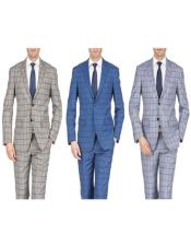Slim Fit Suits Plaid