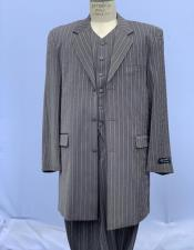 men's Pinstripe Zoot Bold Chalk Stripe Grey 1920s men's Fashion Clothing 50s Outfit Costume Suit Pre order For September/1/2020