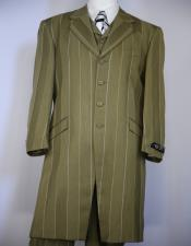 ID#KA28273 Buy Zoot Suits for Sale Vested Olive Green Stripe ~ Pinstripe Zoot Suit