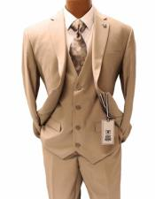 Men's Tan Suit Two Vested Suit - Champaign Suit Color Three Piece - Stacy Adams Suit