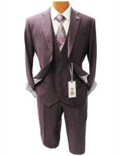 men's Burgundy Mordern Fit Two Button Suit