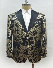 ID#AA28356 Mens Fashion Black-Gold Suit