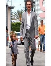 ID#AA28375 Father ~ Dad And Son Matching Suits Grey For Men Groom Tuxedos Best Man Suit Casual Blazer