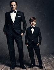 ID#AA28376 Father ~ Dad And Son Matching  Black Suits