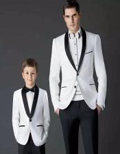 ID#AA28378 Father ~ Dad And Son Matching Black And White Suits