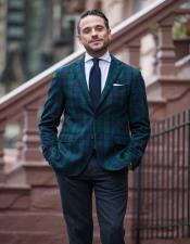 ID#AA28392 Mens Tartan Plaid Window Pane Suit Olive Green And Blue Mixed Comes With Checkered Suit