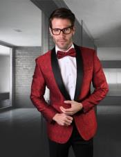 Black Lapel Jacket Black and Red Dress men's suit Comes with Black Pants and Pants