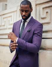 Notch Lapel Linen Purple