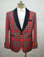 ID#AI28457 Mens Shawl Lapel Tartan Red Blazer