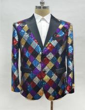 ID#AI28463 Mens 1920s 1940s Fashion Clothing Lapel Rainbow One Chest Pocket Blazer