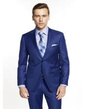 ID#AI28511 Mens Notch Lapel Solid Blue Plain Front Suit