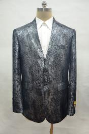ID#AI28526 Alligator Print Crocodile Gator Snake Skin Jacket Big and Tall Mens Blazer ostrich looking Dark Silver Sportcoat