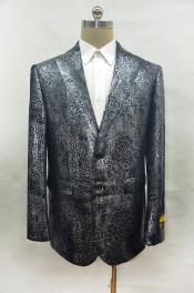 ID#AI28527 Crocodile Gator Alligator Ostrich Looking Print Snake Skin Big and Tall Mens Blazer Black ~ Dark Silver Sportcoat