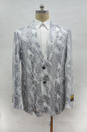 ID#AI28530 Mens Alligator Print White ~ Light Black Crocodile ostrich looking Gator Snake Skin Jacket Coat Blazer Sportcoat