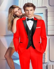 ID#AI28534 Mens 1920s 1940s Mens Fashion Vintage Style Hot Red Tuxedo Suit