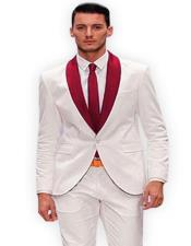 White And Burgundy Tuxedo