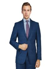 ID#KA28577 Bertolini Flap Front Pockets Birdseye Windowpane Blue Suit