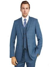 ID#KA28582 Bertolini Two Button 1920s 1940s Mens Fashion Vintage Style Blue Windowpane Charcoal Suit