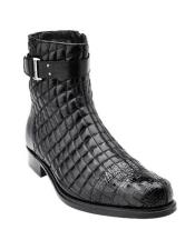 ID#KA28594 Mens Black Alligator Belvedere Libero Trim Quilt Boots