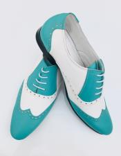 ID#AI28670 Alberto Nardoni Sky Blue Leather Bright Upper Two Toned Wing Tip ~ Wingtip Dress Lace uP Oxford Shoe