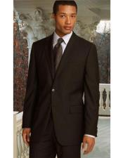 ID#AI28679 Two Button Athletic Cut Classic Fit Brown Pleated Pants 19 Inch Bottom Suits