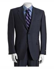 men's Classic Athletic Cut Dark Navy Classic Relax Fit Pleated Pants Suits