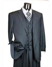 ID#AI28693 Mens Athletic Cut Classic Charcoal Grey Classic Relax Fit Pleated Bottom Suits