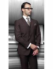 ID#AI28711 Mens Classic Cut Athletic Relax Fit Pleated Pants 19 Inch Bottom Solid Brown suit