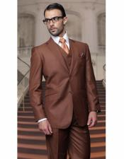 ID#AI28717 Mens Classic Cut Athletic Relax Fit Pleated Pants 19 Inch Bottom Copper suit