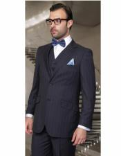 ID#AI28720 Mens 19 Inch Bottom Athletic Cut Classic Relax Fit Pleated Pants Dark Navy Suit