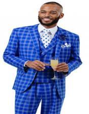 ID#AI28808 Mens E. J. Samuel One Chest Pocket Royal Plaid Wide Leg Vested Suit