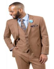 ID#AI28814 Mens Solid Light Brown -  Mocha - Carmel Verk Dark Tan 3 Pieces Vested Suit