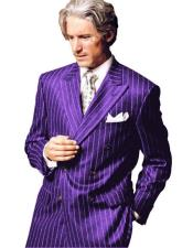 ID#AI28817 Bold Chalk Pinstripe Purple Stripe Style Fashion Clothing Jacket Double Breasted 1920s Mens Fashion Clothing 50s Outfit Costume Suit