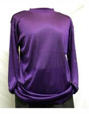 Long Sleeve Purple Mock