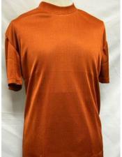 Short Sleeve Rust Mock