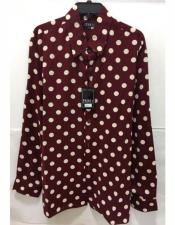 ID#AI28896 Mens Brown Pronti Fashion Poker/ Polka Dot Long Sleeves Shirts